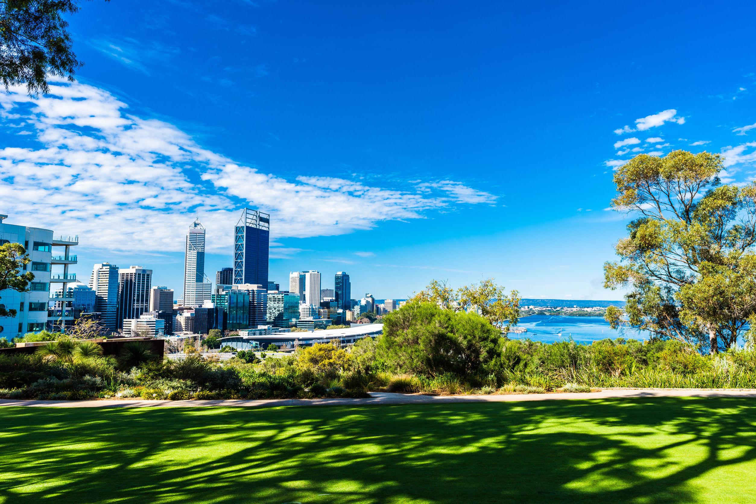 Panorámica del parque Kings Park de la ciudad de Perth en Australia