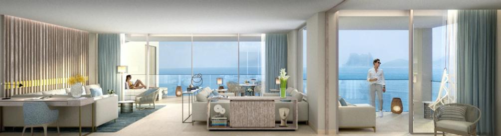 Imagen de una de las habitaciones del hotel IKOS Andalusia donde participa la serie BJC Mega